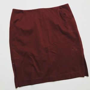 • ANTHROPOLOGIE CABI • maroon fitted pencil skirt